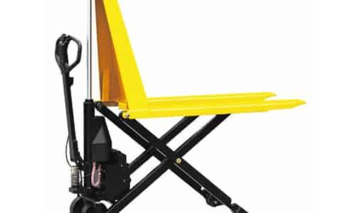 Semielektrisk sakseløfter til paller. Kan også bruges som arbejdsstation.
